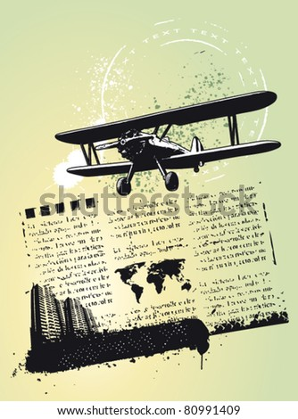 traveling background with stamp plane and city