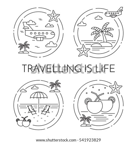 Traveling banner set with outline journey and vacation related elements collected in form of round isolated on white background. Vector illustration in line art style.