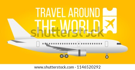 Traveling by airplane concept. Plane on bright yellow background. Travel agency design. Summer template for poster, brochure, magazine. Vector illustration.