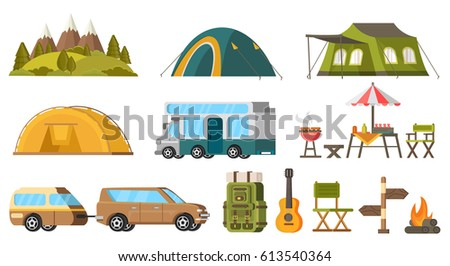Traveling camping elements set with nature landscape tourist tents house trailer backpack barbecue guitar bonfire isolated vector illustration