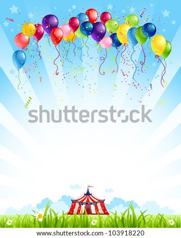 Traveling circus  under blue sky and bunch of balloons