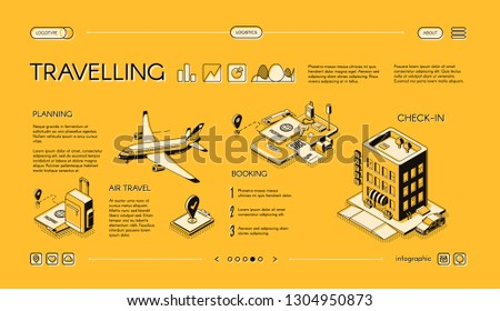 Traveling company isometric vector web banner, horizontal, slide website template with journey planning, tickets and hotel room booking online services. Mobile app for comfortable tourism landing page