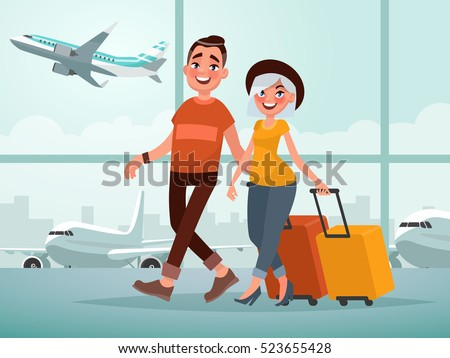 traveling couple of young