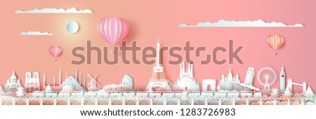Traveling Europe landmarks of world with train and ballon, Tour around the world with panoramic cityscape, Popular capital,Origami paper cut style for travel postcard valentines,Vector illustration.
