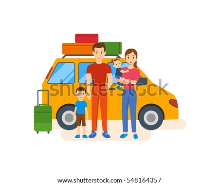 Traveling family. A young family with children go on a trip by car. They stop to see the sights and do a joint photo. Vector illustration. Can be used as commercial materials.