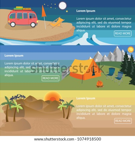 Traveling/holiday template design.Different types of leisure activities. Vector illustration.