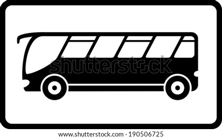 traveling icon with black isolated bus silhouette
