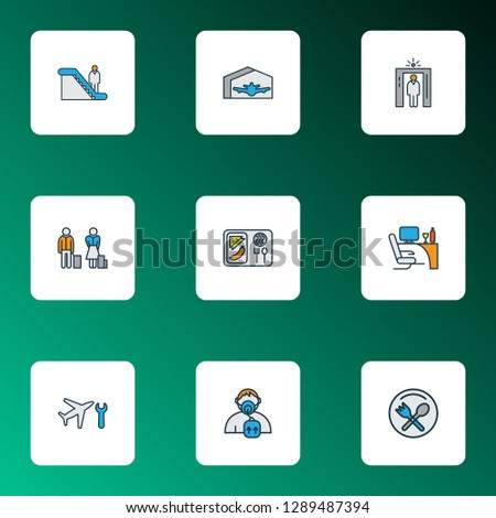 Traveling icons colored line set with business class, plane hangar, passengers and other airplane repair elements. Isolated vector illustration traveling icons.