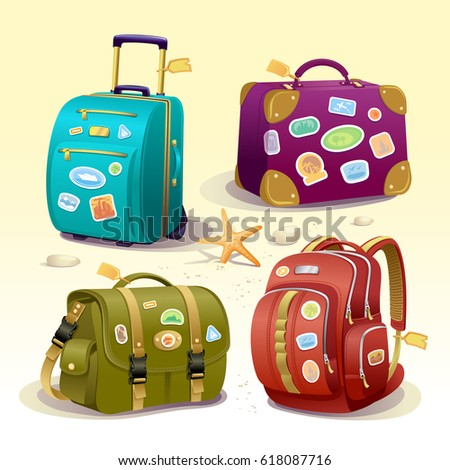 Traveling icons illustration with suitcase, bag, briefcase and backpack. Detailed vector items with travel stickers for luggage