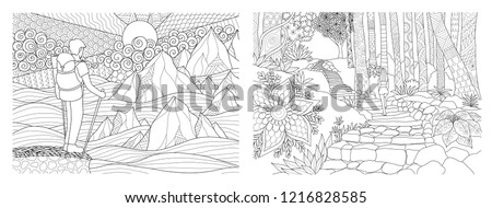 Traveling in nature adult coloring pages collection. Vector illustration