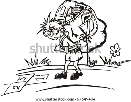 Traveling kid with big rucksack and hopscotch sketch on his path Vinyl-ready vector illustration, black and white sketch