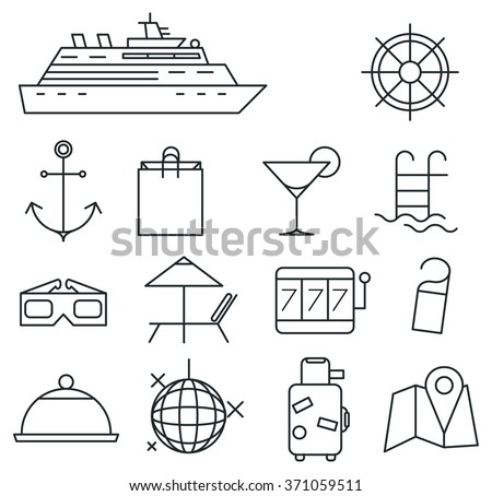 Traveling on a cruise ship. Set of nautical thin line icons and design elements.