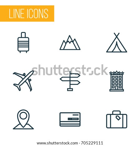 traveling outline icons set