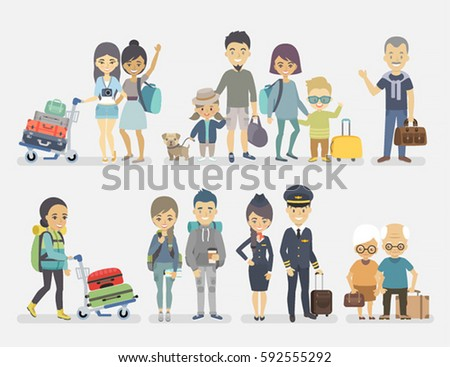 Traveling people, family, friends, couple, seniors, adventurers with baggage. Vector illustration.