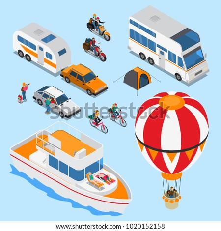 Traveling people on various vehicles including balloon, mobile home, isometric set on blue background isolated vector illustration