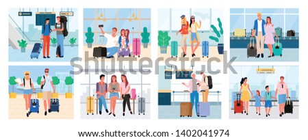 Traveling people, senior man and woman, couple with baggage, friends on voyage airport halls and travelers walking granny and granddad set. Tourists going travel on summer acation, journey or trip
