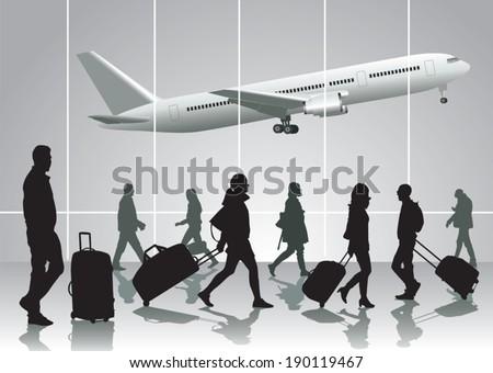 traveling people walking at