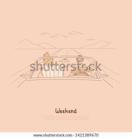 Traveling together by car, couple on road trip, looking at map to find way, summer vacation, holiday in cabriolet banner