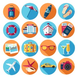 Traveling, tourism, vacation icons set. Flat style design. Vector illustration.