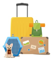 Traveling with pets. Suitcases, backpack and dog carrier. Happy dog next to the transport cage. Vector illustration isolated on white background.