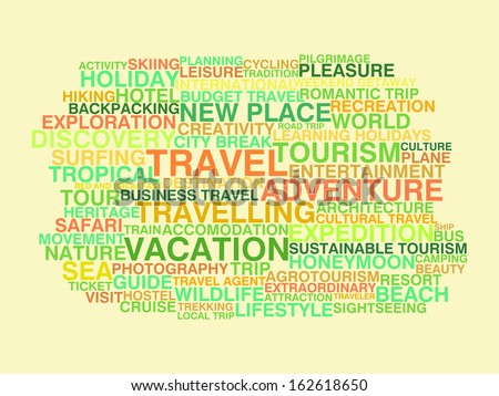 Traveling. Word cloud concept