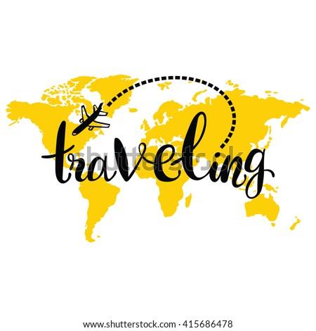 traveling world map airplane