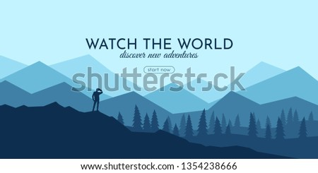 Traveller with backpack standing looking on valley. Concept of discovery, exploration, hiking, adventure tourism and travel.