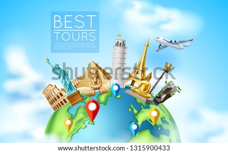 Travelling and tourism poster design. Vector best tours promotion with famous world landmarks at planet earth. Pyramids, sphinx, eiffel tower, Libery statue, Thailand Buddha and flying plane