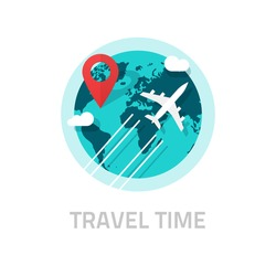 Travelling around the world by plane vector illustration, tourism day logo, travel and world trip logo idea, flat earth globe with airplane flying and location map pin pointer journey destination
