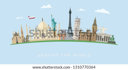 Travelling around the world to famous landmarks vector banner illustration