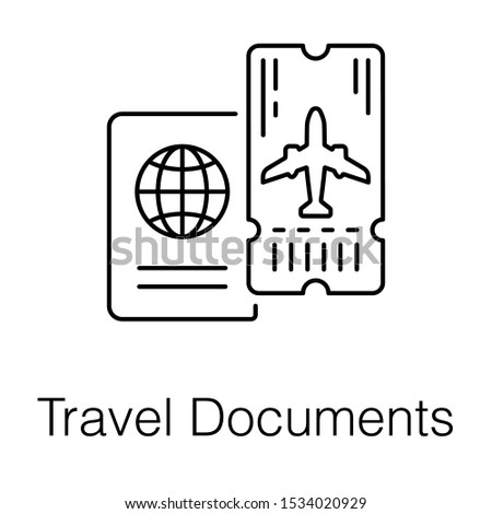 Travelling identification documents, passport icon in line vector style