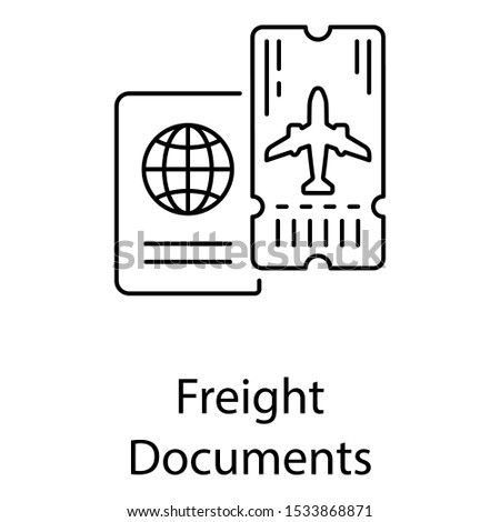 Travelling identification freight documents, passport icon in line vector style