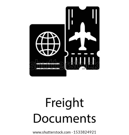 Travelling identification freight documents, passport icon in solid vector style