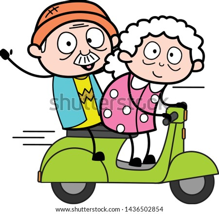 Travelling on Scooter - Old Woman Cartoon Granny Vector Illustration