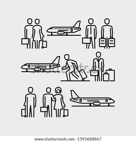 Travelling people, men and women with luggage waiting airplane vector icons