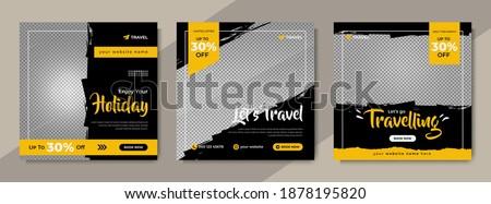 Travelling sale social media post template design. Set of web banner, flyer or poster for travel agency offer promotion. Service business marketing or advertisement digital banner.
