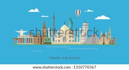 Travelling to world famous landmarks vector banner illustration