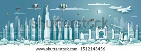 Travelling UAE with modern building, skyline, skyscraper, Business brochure modern design.Travel to United Arab Emirates landmarks of asian with architecture cityscape background.Vector illustration