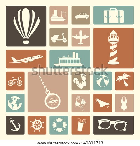 travels icons over white