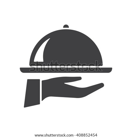Tray on the hand icon Vector Illustration on the white background.