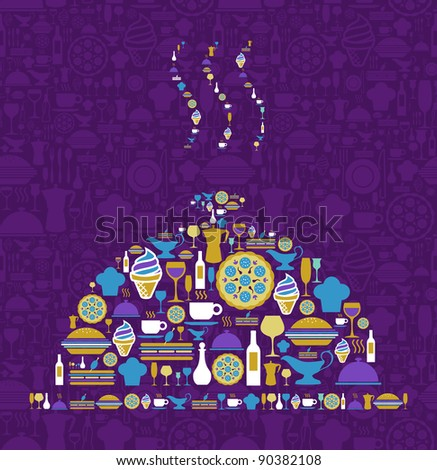 Tray shape made with gourmet icon set on violet background. Vector file available.