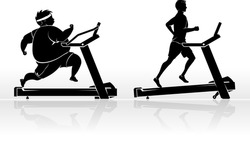 Treadmill Exercise Male Silhouette