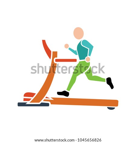treadmill icon, fitness, exercise, gym icon - vector training machine