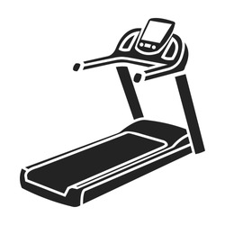 Treadmill icon in black style isolated on white background. Sport and fitness symbol stock vector illustration.