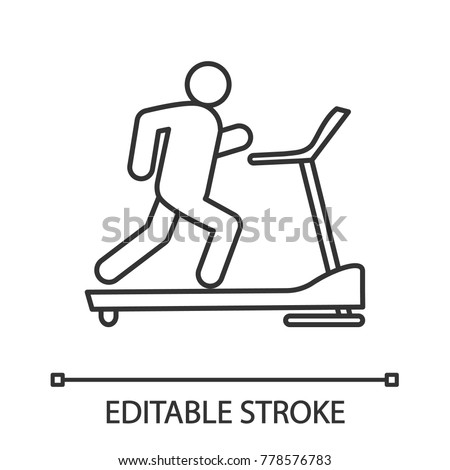 Treadmill linear icon. Thin line illustration. Exercise machine. Contour symbol. Vector isolated outline drawing. Editable stroke