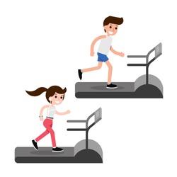Treadmill running flat design cartoon, vector.