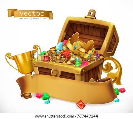 Treasure Chest. 3d vector icon