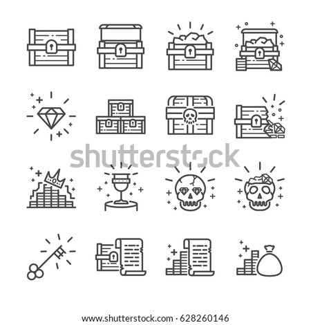 Treasure chest line icon set. Included the icons as treasure chest, skull, diamond, treasure map and more.