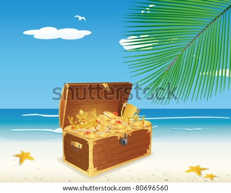 Treasure Chest on The Beach - stock vector