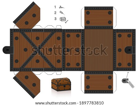 Treasure chest template. Cut out, fold and glue it. Paper model with lid that can be opened. Wooden textured box for precious objects, luxury, belongings or little things.